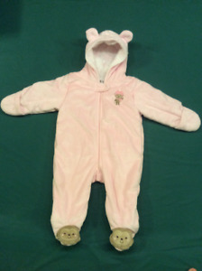 Baby Girl Pink Monkey Snow suite,  size 9 months