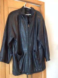 black leather anorak