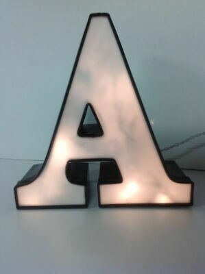 Letter A Commercial Sign Lighted Aluminum Body Plastic Face Used N1