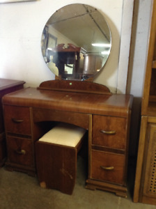 Dresser (vanity) with mirror and stool for sale