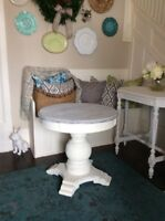 Large Round Handpainted Pedastal Sidetable