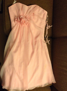 Pink Chiffon Style Dress with Floral Detail  - Size 10