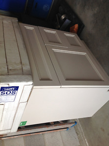 """New light grey 30"""" vanity with custom white marble  one hole top"""