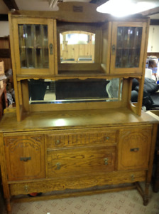Antique hutch and buffet