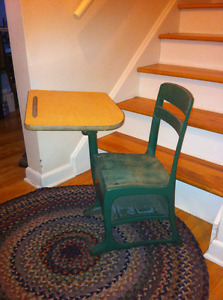 Vintage American Seating Company Small Child's School Desk Wood