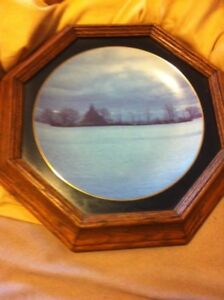 Collectible plate in oak frame