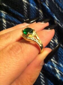 Emerald cz gold plated