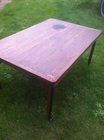 coffee table wood and cast iron