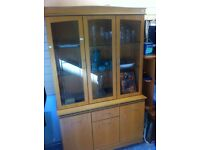 Oak sideboard with display cabinets