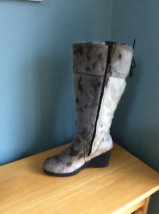 Sealskin wedge boots