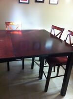 Pub style table with 5 chairs