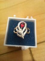 Sterling Silver Ring with Ruby and Topaz