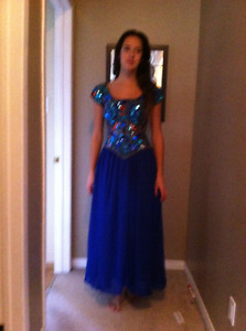 Royal blue/multi beaded gown