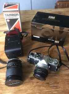 Olympus OM2 c/w 50mm zuiko lens + Tamron lens (new light seals)