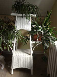 white tower wicker plant stand