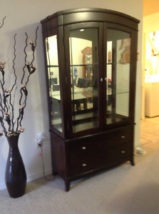 Solid cherry wood China cabinet