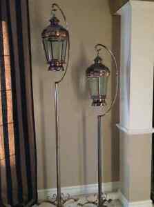 Pair of Large Candle Hurricane Lamps