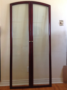2 cherry wood framed glass doors with hinges - $50