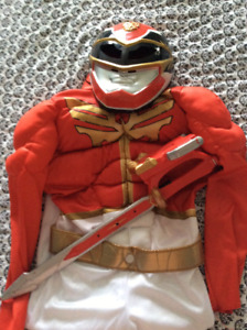 Red power ranger costume with sword size 4-6