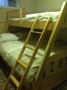 Solid Birch BUNK BEDS - Single over Double bed