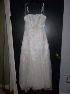 Beautiful white dress with blue flowers