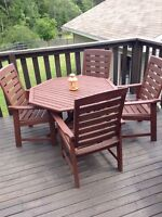 Wood patio table set.