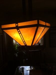 BIG stained glass mission light fixture!