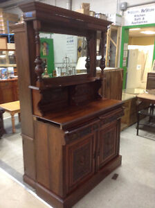 Antique Hand Carved Mirrored Buffet