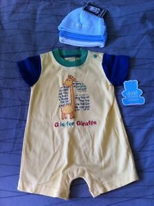 NWT Carter's outfit 0-3 and Gerber cotton hats (3)
