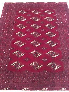 Turkaman Persian Rug, Red Rug, Wool Rug, Handmade