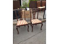 SOLID WOOD STUNNING CARVED DINING CHAIRS X 2 SHABBY CHIC PROJECT ** FREE DELIVERY AVAILABLE **