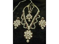Indian Bridal or Any party wear Ruby and White Stone Necklace set with Tika
