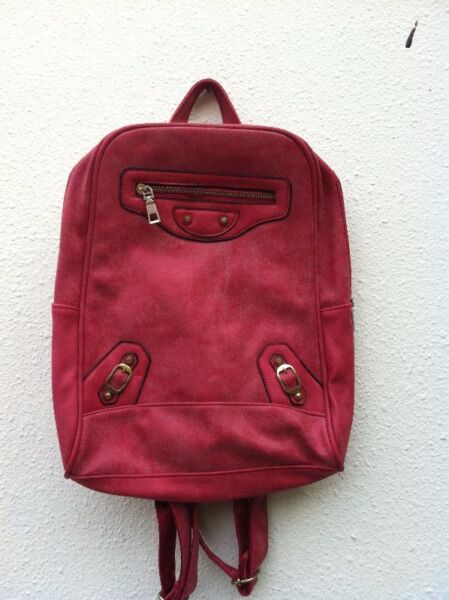 Red haversack. Dimension 35 x 30 x 8cm. In good condition.