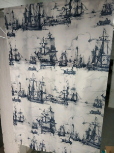 Rideau de douche tissue Fabric shower curtain blue Ships