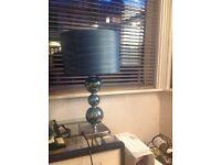 Teal glass lamp