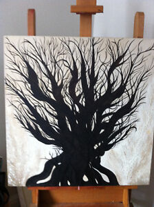 Original Oil Painting Artwork Oak by Des Rosiers 30 x 30""