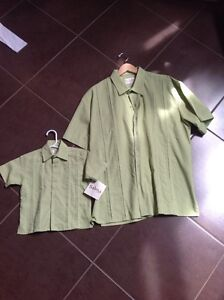 Father and young son matching dress shirts for sale.