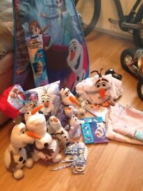 Frozen toys, bed set, tent etc