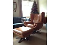 Retro orange leather swivel chair and swivel footstool