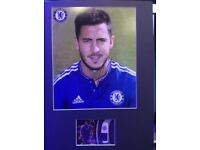 Chelsea football club Eden hazard autographed picture with football match worn relic card