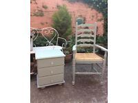 Bedroom chair and bedside cabinet