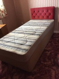 Single divan bed and orthopaedic mattress