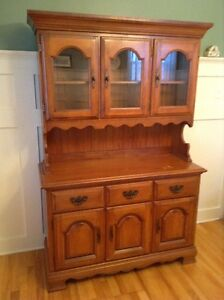 Solid maple china cabinet, buffet & hutch