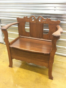 Antique oak hall bench with lifting lid