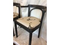 Stag print Upcycled dining chairs