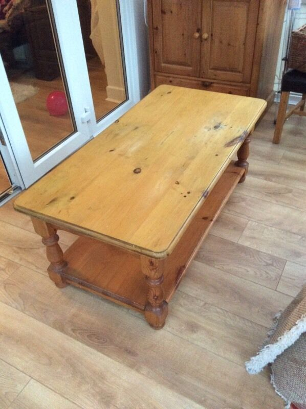 Solid pine coffee table in need of tlc