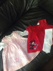 Two beautiful newborn baby girl dresses and tights