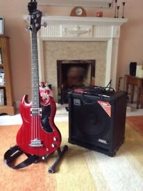 Epiphone Gibson Bass Guitar and Roland Cube 100W Bass Amp