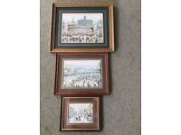 Set of 3 framed prints by L S Lowry