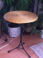Wicker & wrought iron table.